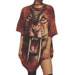 Dresses & Skirts - Tiger Print Short Sleeve Punk style T-Shirt